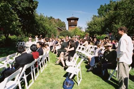 Outdoor ceremony beneath the watertower